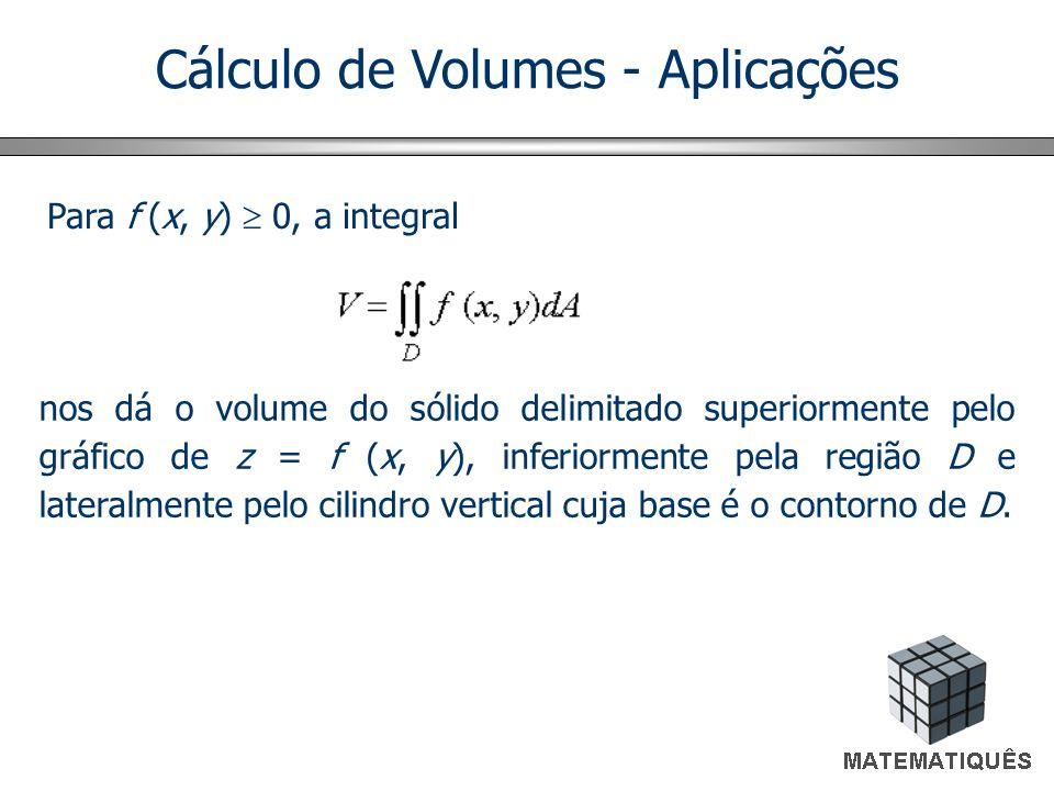 Cálculo de Volumes - Aplicações Para f (x, y) 0, a integral nos dá o volume do sólido delimitado superiormente pelo gráfico de z = f (x, y), inferiormente pela região D e lateralmente pelo cilindro vertical cuja base é o contorno de D.