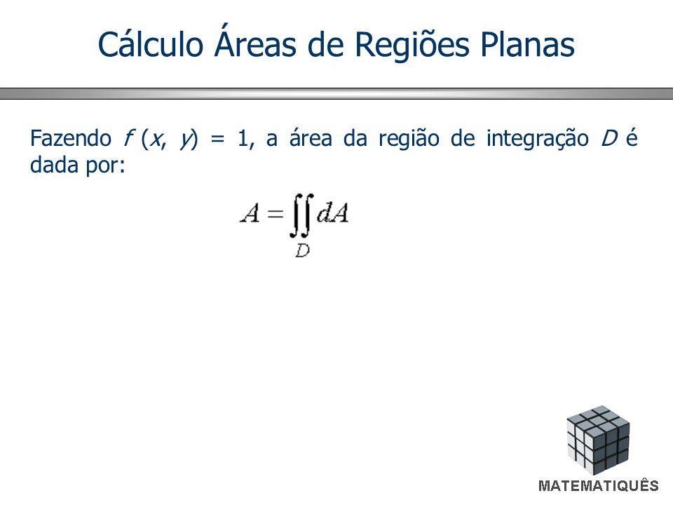 Cálculo Áreas de Regiões Planas Fazendo f (x, y) = 1, a área da região de integração D é dada por: