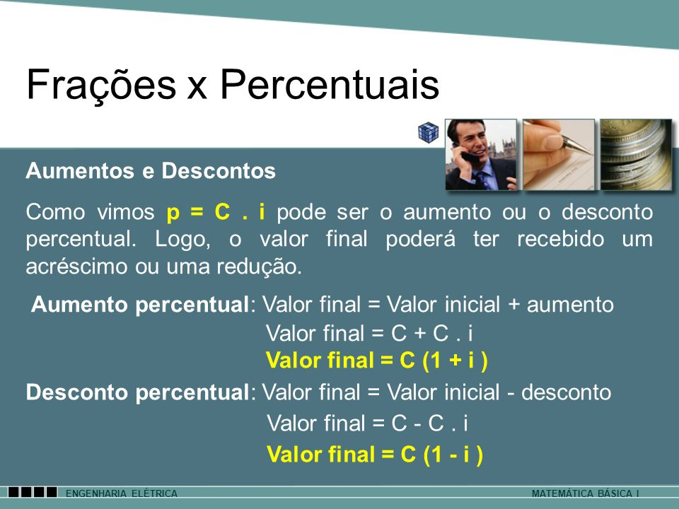 ENGENHARIA ELÉTRICAMATEMÁTICA BÁSICA I Frações x Percentuais Aumento percentual: Valor final = Valor inicial + aumento Valor final = C + C. i Valor fi