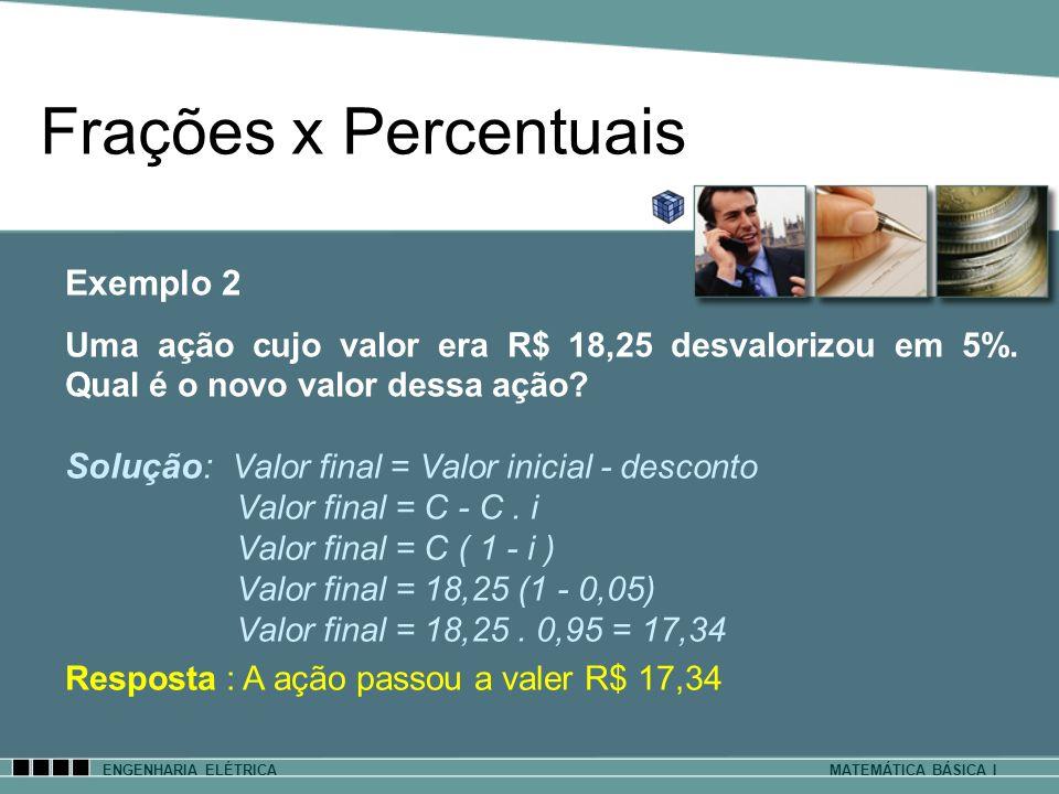 ENGENHARIA ELÉTRICAMATEMÁTICA BÁSICA I Frações x Percentuais Solução: Valor final = Valor inicial - desconto Valor final = C - C. i Valor final = C (