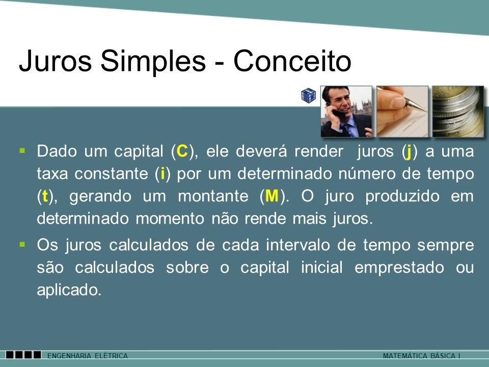 ENGENHARIA ELÉTRICAMATEMÁTICA BÁSICA I Juros Simples - Conceito Dado um capital (C), ele deverá render juros (j) a uma taxa constante (i) por um deter