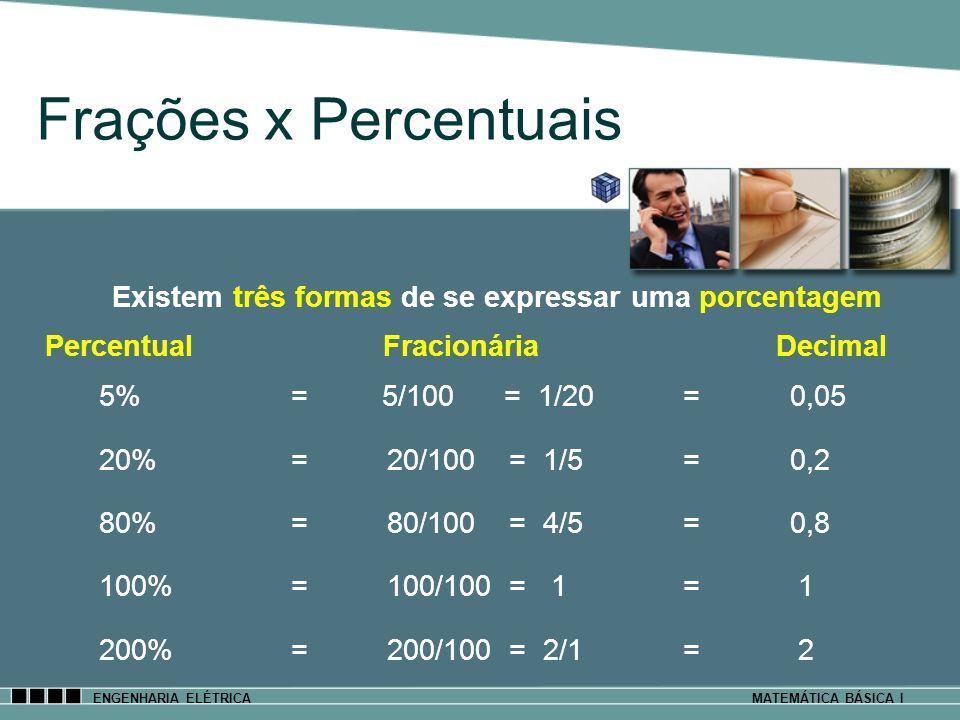Frações x Percentuais 5% = 5/100 = 1/20 = 0,05 20% = 20/100 = 1/5 = 0,2 80% =80/100 = 4/5 = 0,8 100% =100/100 = 1 = 1 200% =200/100 = 2/1 = 2 Existem