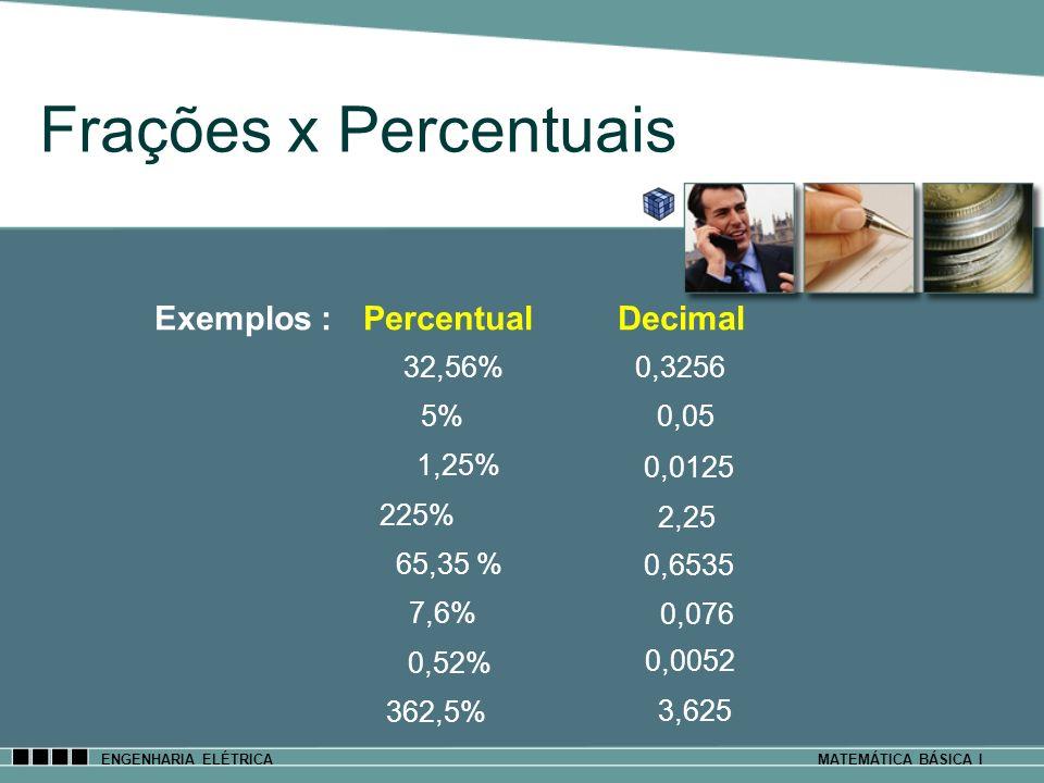 ENGENHARIA ELÉTRICAMATEMÁTICA BÁSICA I Frações x Percentuais Exemplos : Percentual Decimal 32,56% 5% 1,25% 225% 65,35 % 7,6% 0,52% 362,5% 0,3256 0,05