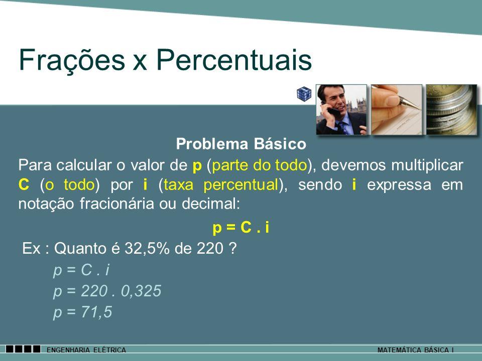 ENGENHARIA ELÉTRICAMATEMÁTICA BÁSICA I Frações x Percentuais p = C. i Ex : Quanto é 32,5% de 220 ? p = C. i p = 220. 0,325 p = 71,5 Problema Básico Pa