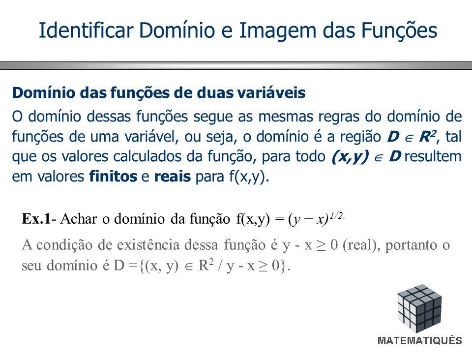 Identificar Domínio e Imagem das Funções Domínio das funções de duas variáveis O domínio dessas funções segue as mesmas regras do domínio de funções d