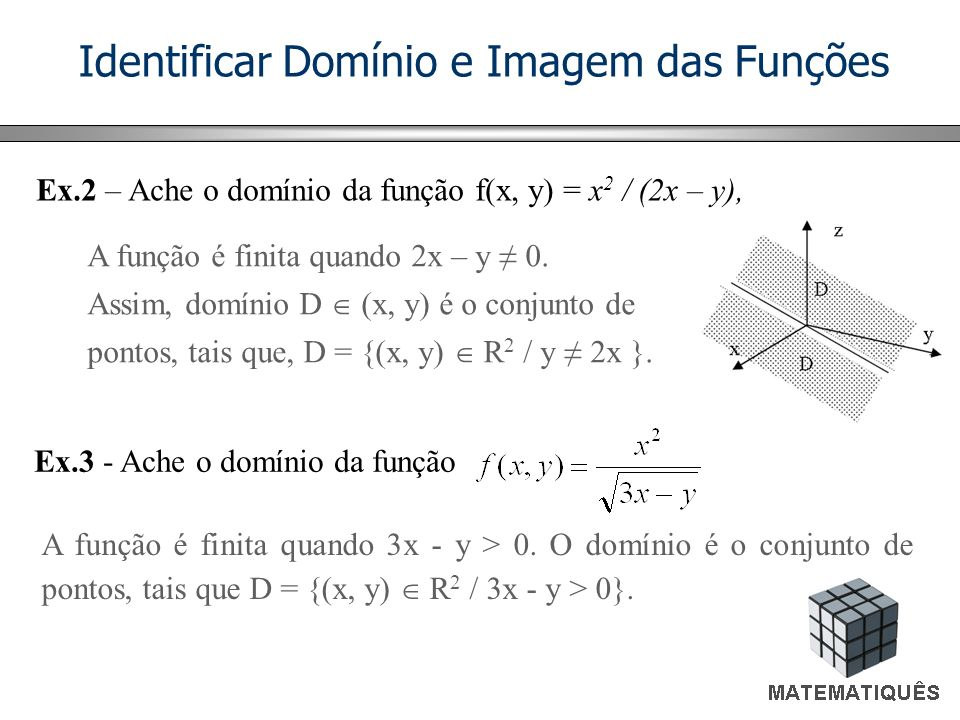Identificar Domínio e Imagem das Funções Ex.2 – Ache o domínio da função f(x, y) = x 2 / (2x – y), Ex.3 - Ache o domínio da função A função é finita q