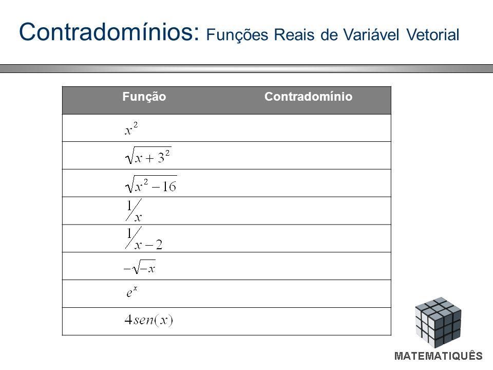 Contradomínios: Funções Reais de Variável Vetorial FunçãoContradomínio R 0 + R -{0} R 0 - R + [-4, 4]