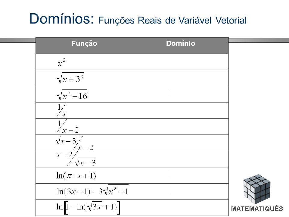 Domínios: Funções Reais de Variável Vetorial FunçãoDomínio R [-9, +[ ]-,-4] [4,+[ R - {0} R - {2} [3, +[ ]3, +[ ]-1/π, +[ ]-1/3, +[ [0, (e-1) 2 /3[