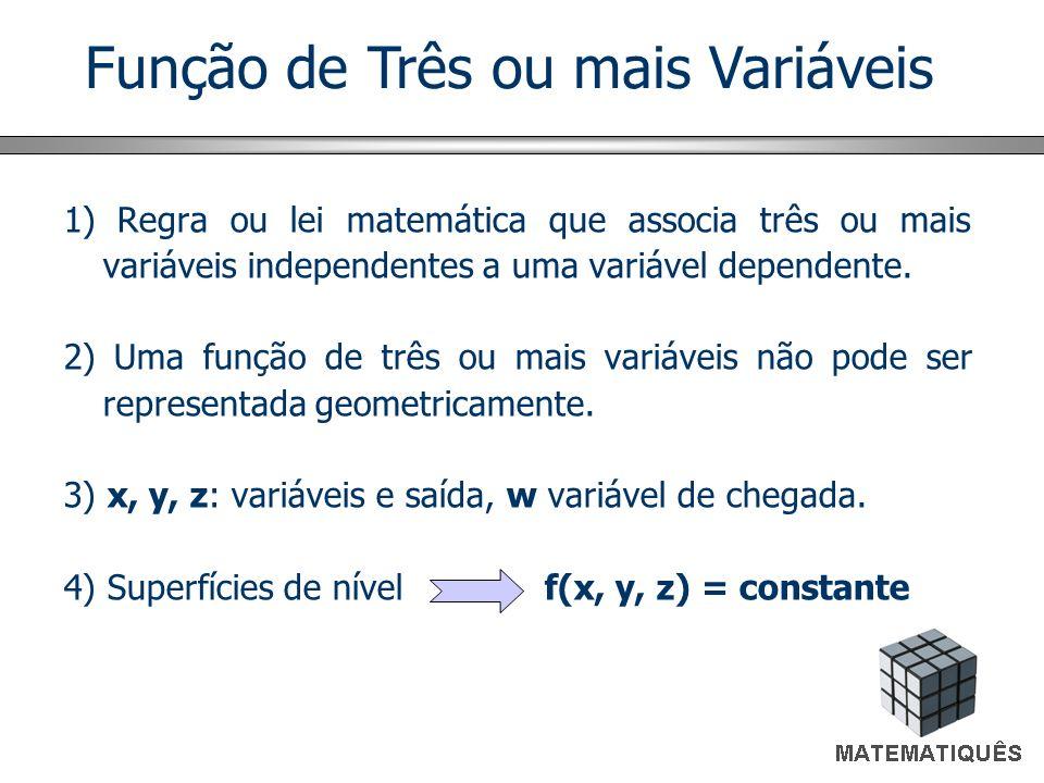 Função de Três ou mais Variáveis 1) Regra ou lei matemática que associa três ou mais variáveis independentes a uma variável dependente. 2) Uma função