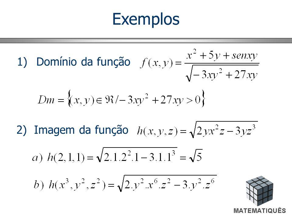 Exemplos 1)Domínio da função 2) Imagem da função