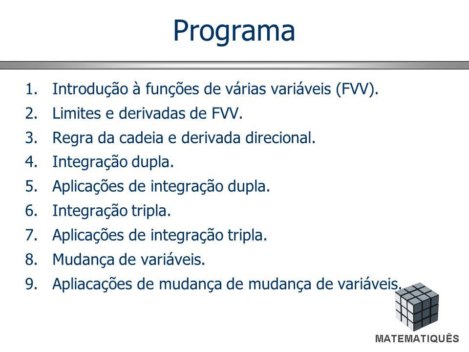 Programa 1.Introdução à funções de várias variáveis (FVV). 2.Limites e derivadas de FVV. 3.Regra da cadeia e derivada direcional. 4.Integração dupla.