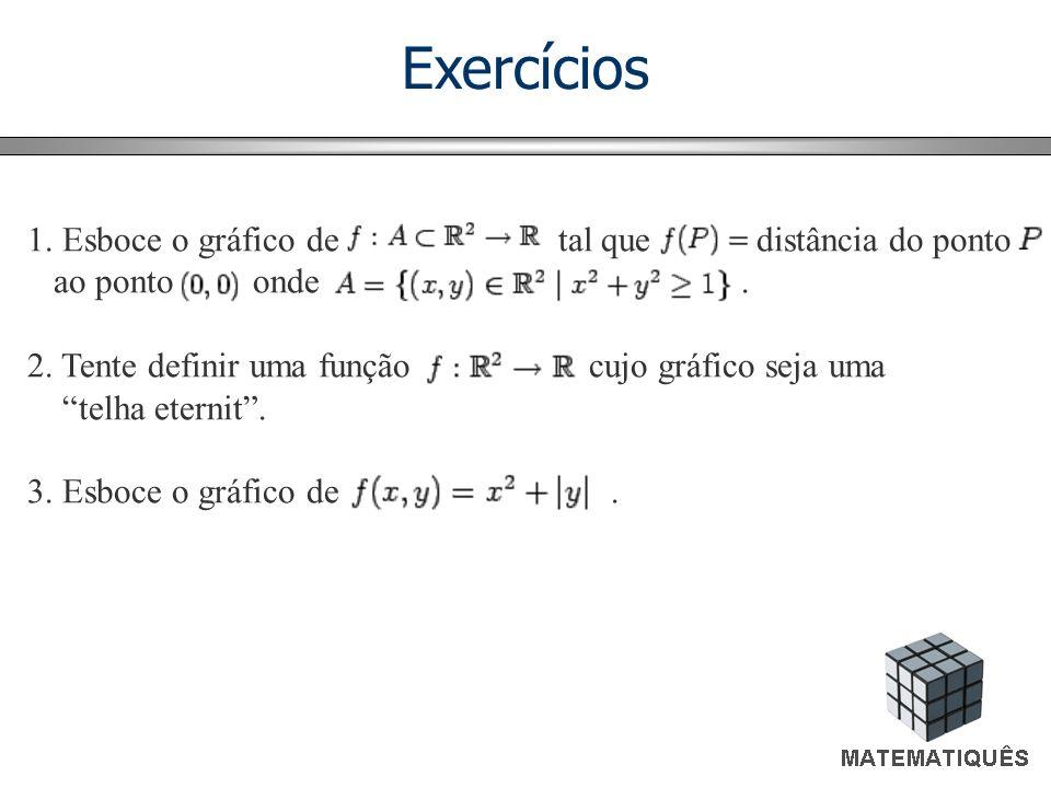 Exercícios 1. Esboce o gráfico de tal que distância do ponto ao ponto onde. 2. Tente definir uma função cujo gráfico seja uma telha eternit. 3. Esboce