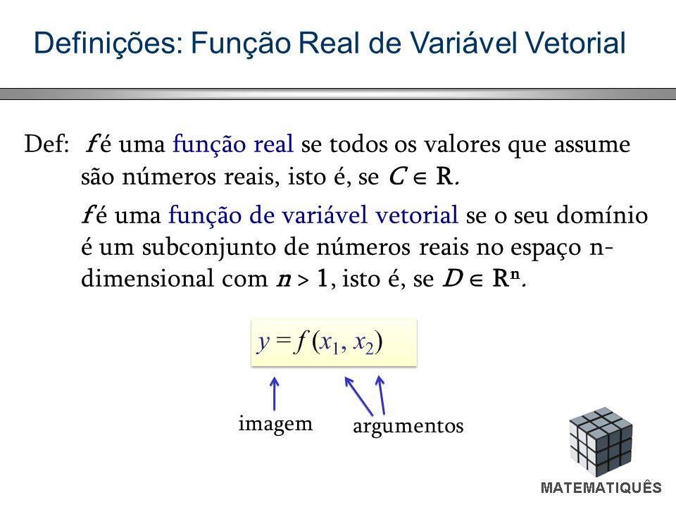 Definições: Função Real de Variável Vetorial Def: f é uma função real se todos os valores que assume são números reais, isto é, se C R. f é uma função