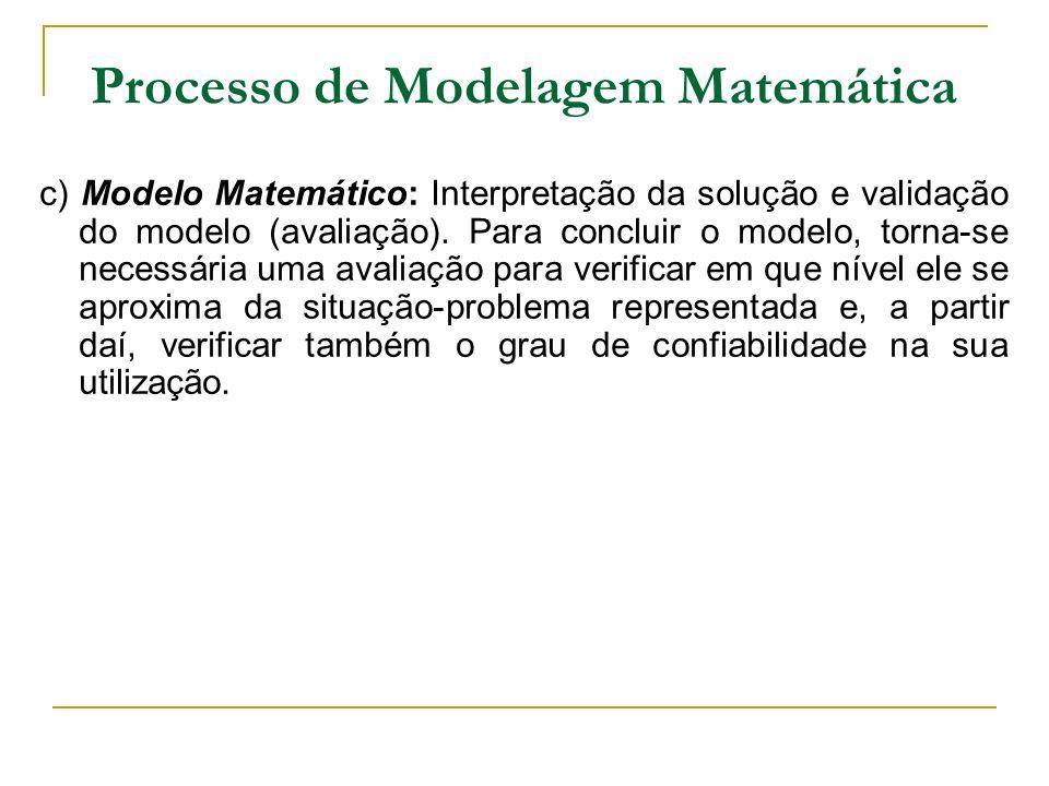 Processo de Modelagem Matemática c) Modelo Matemático: Interpretação da solução e validação do modelo (avaliação). Para concluir o modelo, torna-se ne
