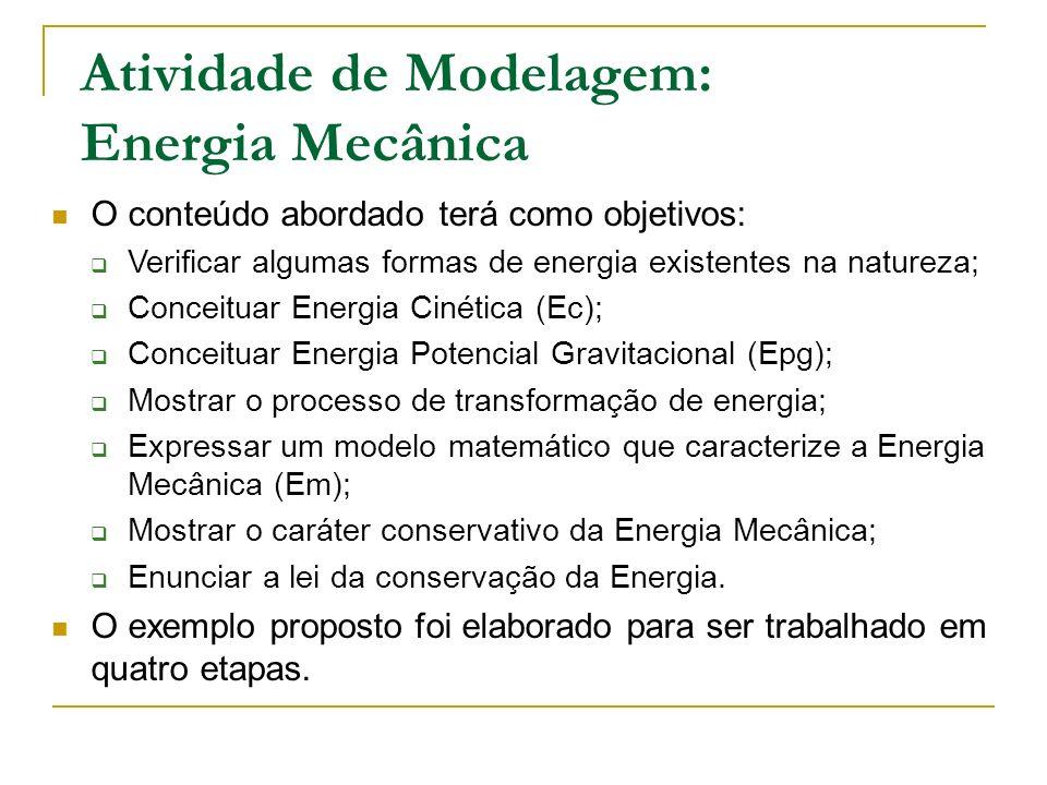 Atividade de Modelagem: Energia Mecânica O exemplo proposto foi elaborado para ser trabalhado em quatro etapas. O conteúdo abordado terá como objetivo