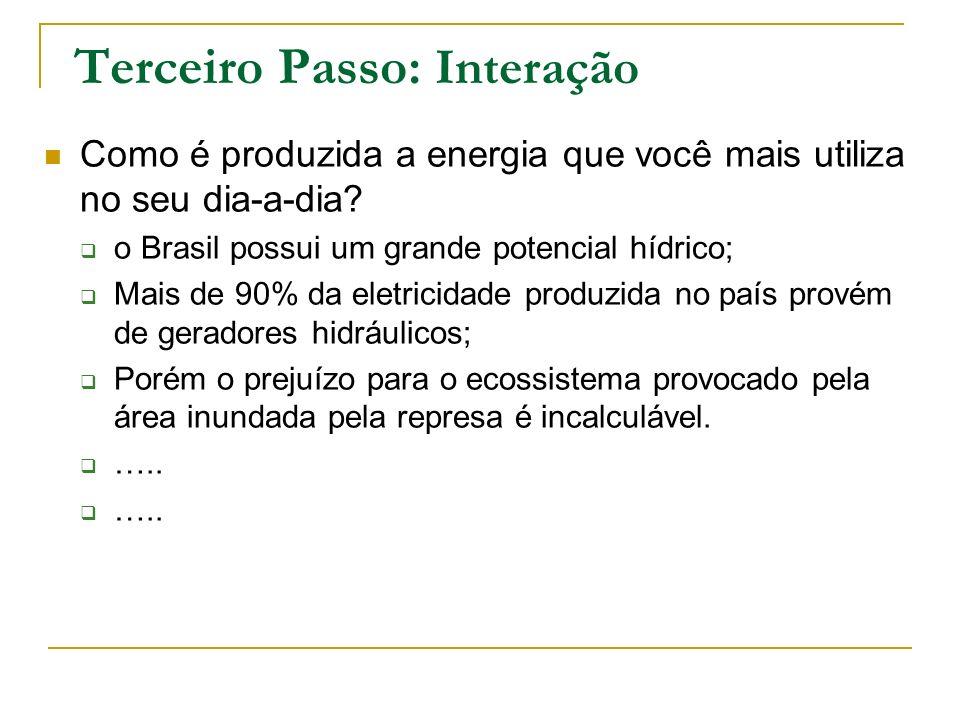 Terceiro Passo: Interação Como é produzida a energia que você mais utiliza no seu dia-a-dia? o Brasil possui um grande potencial hídrico; Mais de 90%