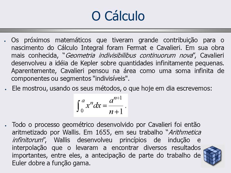 O Cálculo Os próximos matemáticos que tiveram grande contribuição para o nascimento do Cálculo Integral foram Fermat e Cavalieri. Em sua obra mais con