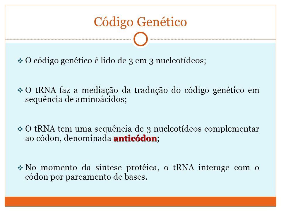 O código genético é lido de 3 em 3 nucleotídeos; O tRNA faz a mediação da tradução do código genético em sequência de aminoácidos; anticódon O tRNA te