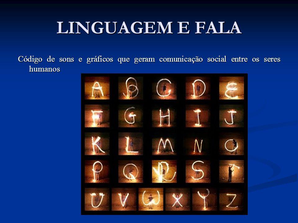 LINGUAGEM E FALA Código de sons e gráficos que geram comunicação social entre os seres humanos