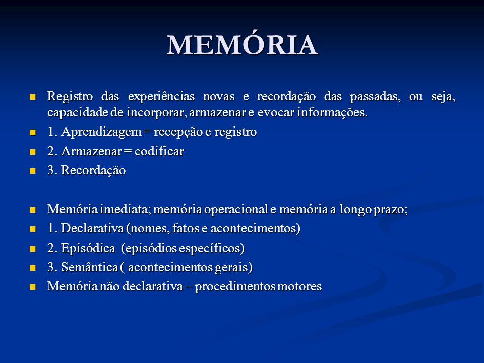MEMÓRIA Registro das experiências novas e recordação das passadas, ou seja, capacidade de incorporar, armazenar e evocar informações. Registro das exp