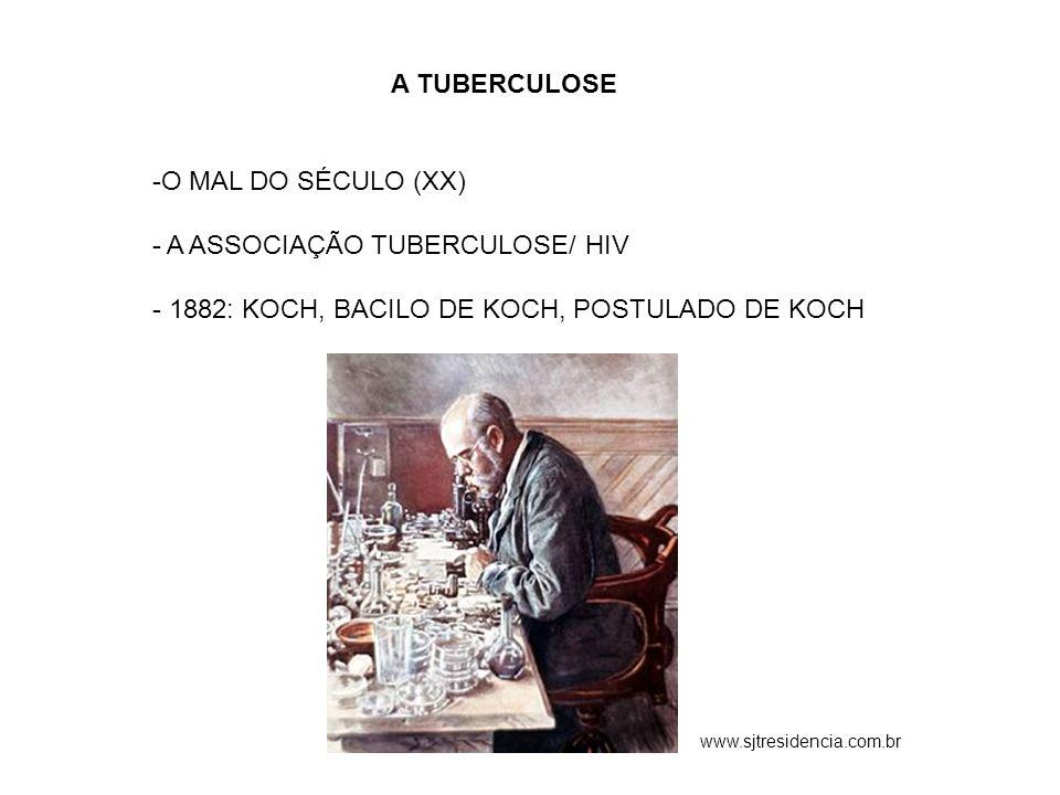 A TUBERCULOSE -O MAL DO SÉCULO (XX) - A ASSOCIAÇÃO TUBERCULOSE/ HIV - 1882: KOCH, BACILO DE KOCH, POSTULADO DE KOCH www.sjtresidencia.com.br