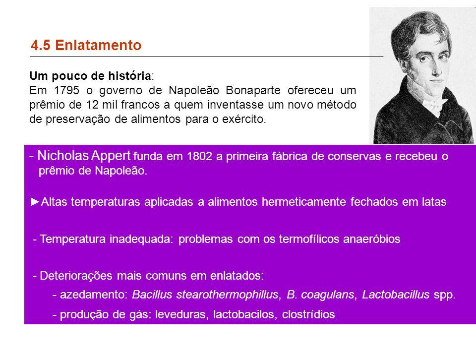 4.5 Enlatamento - Nicholas Appert funda em 1802 a primeira fábrica de conservas e recebeu o prêmio de Napoleão.