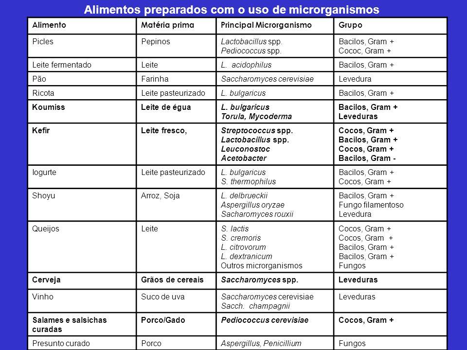 Alimentos preparados com o uso de microrganismos AlimentoMatéria primaPrincipal MicrorganismoGrupo PiclesPepinosLactobacillus spp.
