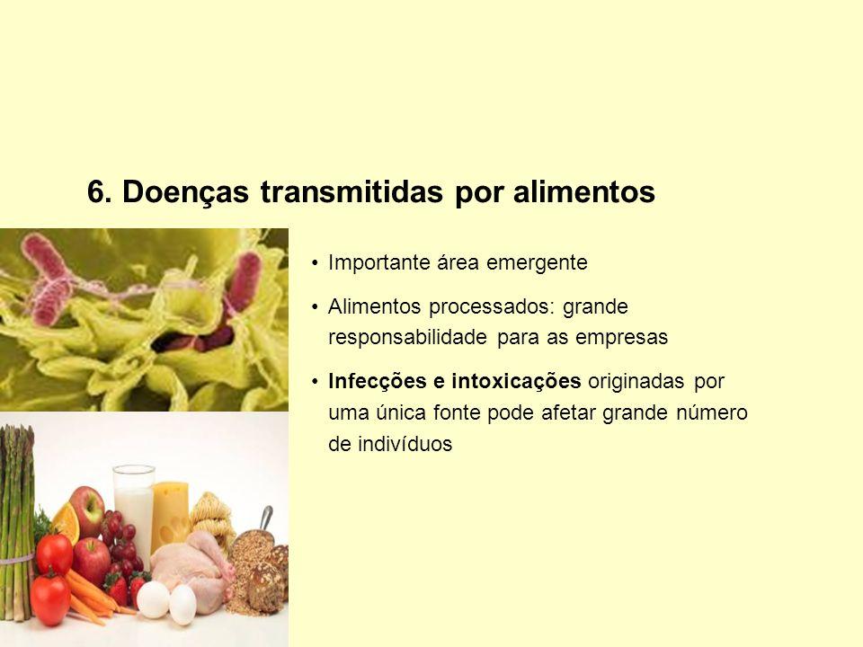6. Doenças transmitidas por alimentos Importante área emergente Alimentos processados: grande responsabilidade para as empresas Infecções e intoxicaçõ