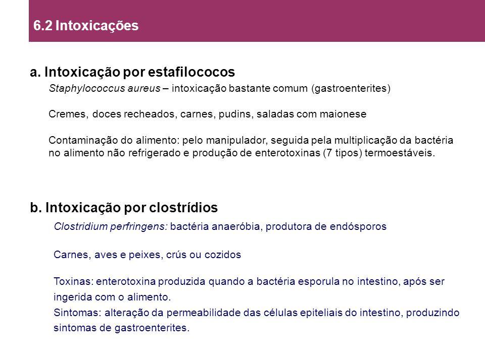 a. Intoxicação por estafilococos Staphylococcus aureus – intoxicação bastante comum (gastroenterites) Cremes, doces recheados, carnes, pudins, saladas