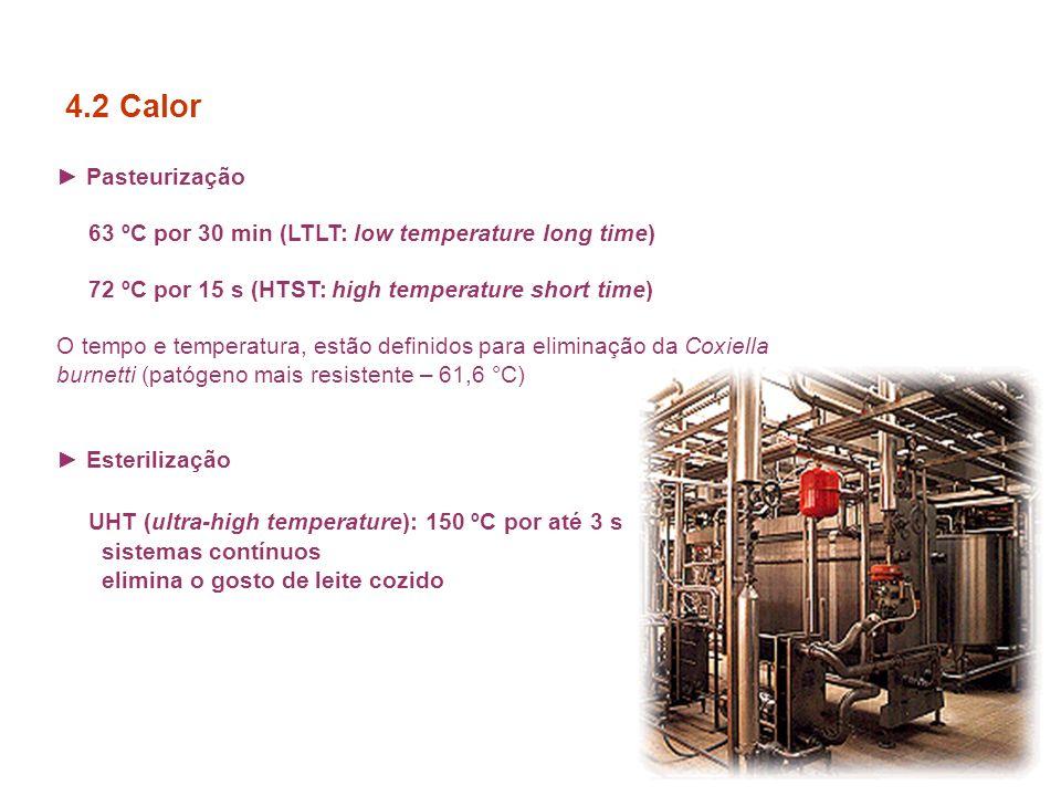 Pasteurização 63 ºC por 30 min (LTLT: low temperature long time) 72 ºC por 15 s (HTST: high temperature short time) O tempo e temperatura, estão definidos para eliminação da Coxiella burnetti (patógeno mais resistente – 61,6 °C) Esterilização UHT (ultra-high temperature): 150 ºC por até 3 s sistemas contínuos elimina o gosto de leite cozido 4.2 Calor