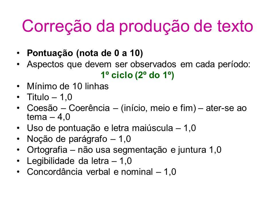 Correção da produção de texto Pontuação (nota de 0 a 10) Aspectos que devem ser observados em cada período: 1º ciclo (2º do 1º) Mínimo de 10 linhas Ti