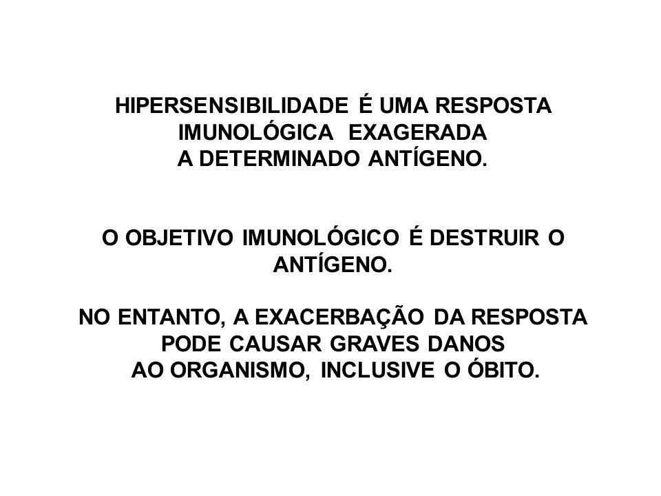 EXISTEM QUATRO TIPOS DE HIPERSENSIBILIDADE 1 – I ANAFILAXIA, SEM ATIVAÇÃO DO COMPLEMENTO 2 – II CITOTÓXICA, Ag EM SUPERFÍCIE CELULAR, TRANSFUSÕES COMPLEMENTO É ATIVADO 3 – III REAÇÃO DE ARTHUS, IMUNOCOMPLEXOS, COMPLEMENTO ATIVADO.