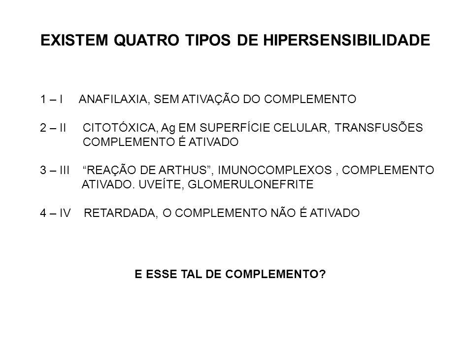 EXISTEM QUATRO TIPOS DE HIPERSENSIBILIDADE 1 – I ANAFILAXIA, SEM ATIVAÇÃO DO COMPLEMENTO 2 – II CITOTÓXICA, Ag EM SUPERFÍCIE CELULAR, TRANSFUSÕES COMP