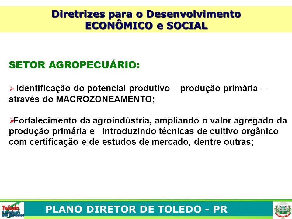 PLANO DIRETOR DE TOLEDO - PR Diretrizes para o Desenvolvimento ECONÔMICO e SOCIAL SETOR AGROPECUÁRIO: Identificação do potencial produtivo – produção
