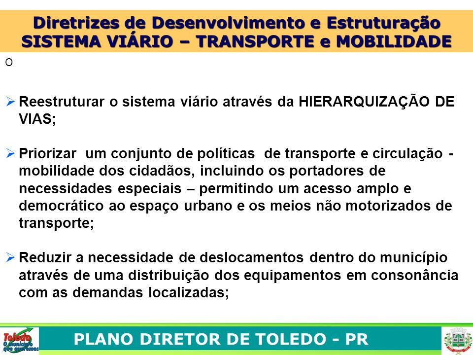 PLANO DIRETOR DE TOLEDO - PR O Reestruturar o sistema viário através da HIERARQUIZAÇÃO DE VIAS; Priorizar um conjunto de políticas de transporte e cir