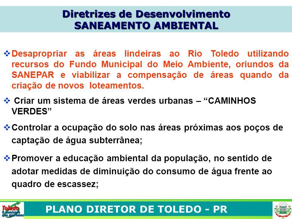 PLANO DIRETOR DE TOLEDO - PR Desapropriar as áreas lindeiras ao Rio Toledo utilizando recursos do Fundo Municipal do Meio Ambiente, oriundos da SANEPA