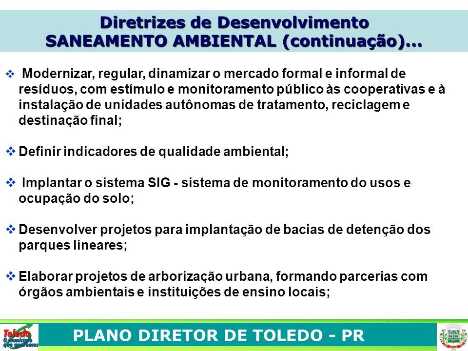 PLANO DIRETOR DE TOLEDO - PR Modernizar, regular, dinamizar o mercado formal e informal de resíduos, com estímulo e monitoramento público às cooperati