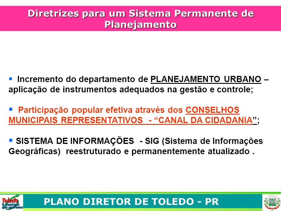 PLANO DIRETOR DE TOLEDO - PR Diretrizes para um Sistema Permanente de Planejamento Incremento do departamento de PLANEJAMENTO URBANO – aplicação de in