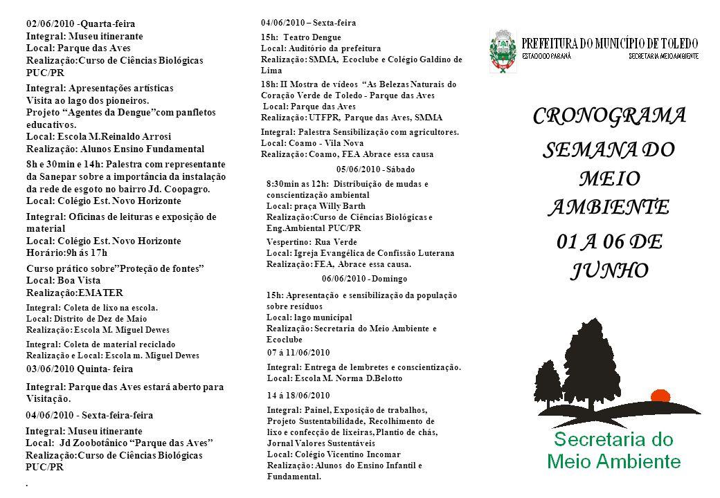 CRONOGRAMA SEMANA DO MEIO AMBIENTE 01 A 06 DE JUNHO 06/06/2010 - Domingo 15h: Apresentação e sensibilização da população sobre resíduos Local: lago mu