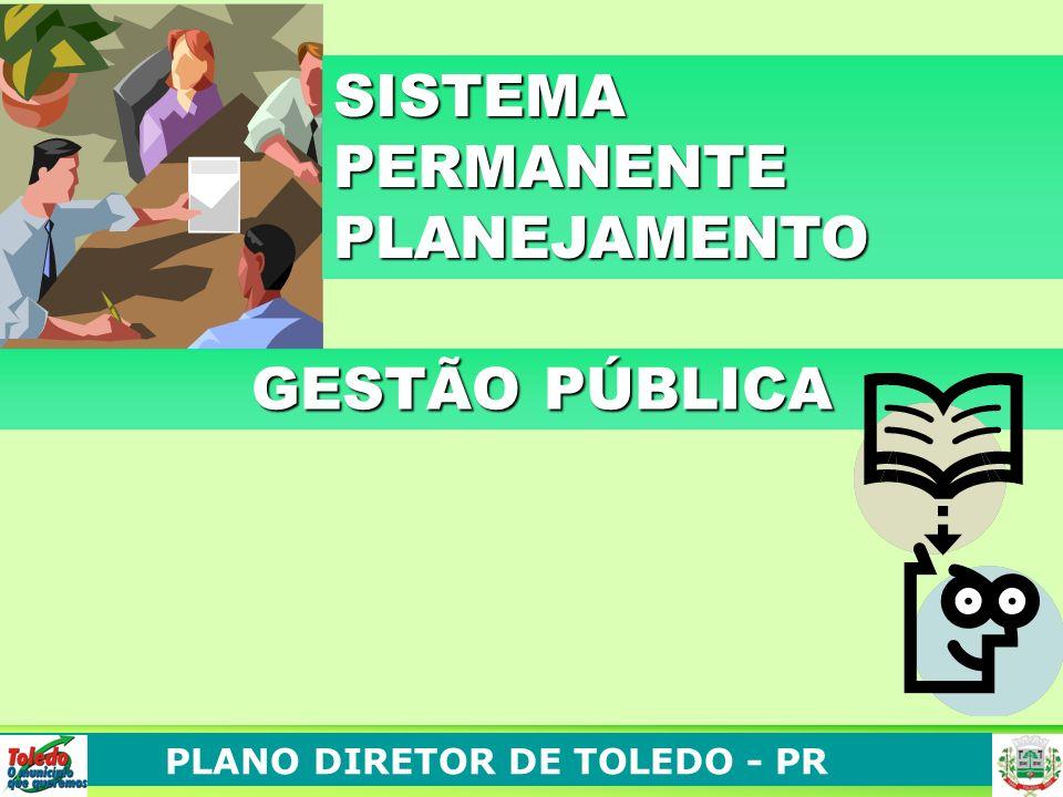 PLANO DIRETOR DE TOLEDO - PR GESTÃO PÚBLICA GESTÃO PÚBLICA SISTEMA PERMANENTE PLANEJAMENTO