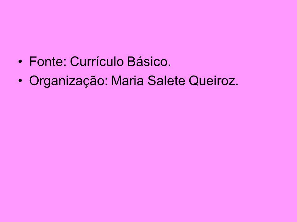 Fonte: Currículo Básico. Organização: Maria Salete Queiroz.