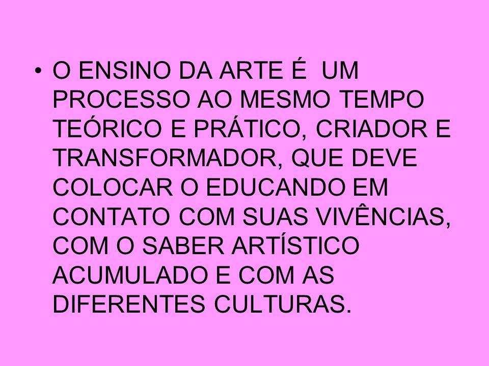 O ENSINO DA ARTE É UM PROCESSO AO MESMO TEMPO TEÓRICO E PRÁTICO, CRIADOR E TRANSFORMADOR, QUE DEVE COLOCAR O EDUCANDO EM CONTATO COM SUAS VIVÊNCIAS, C