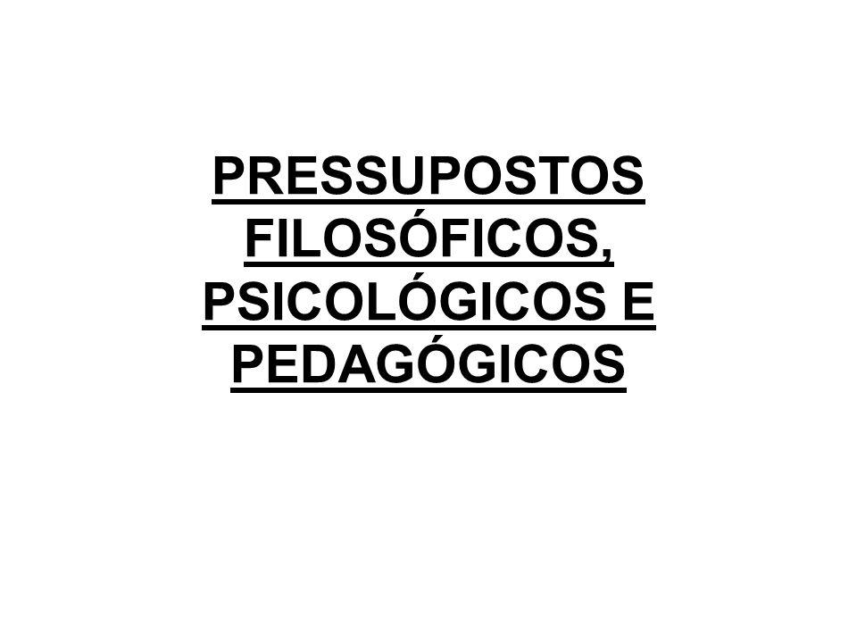 PRESSUPOSTOS FILOSÓFICOS, PSICOLÓGICOS E PEDAGÓGICOS