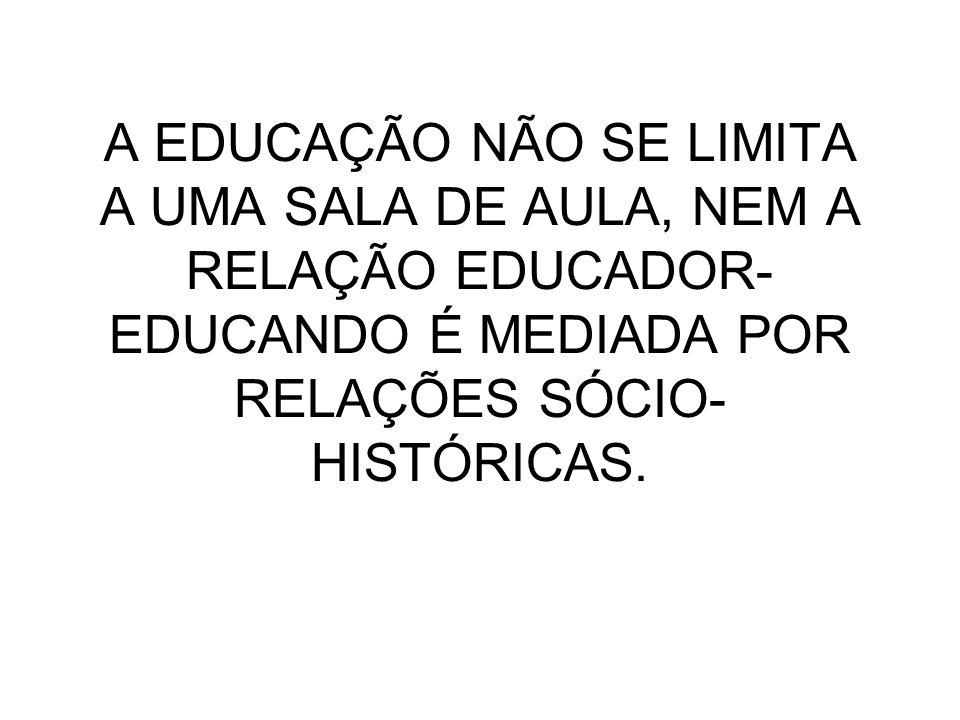 A EDUCAÇÃO NÃO SE LIMITA A UMA SALA DE AULA, NEM A RELAÇÃO EDUCADOR- EDUCANDO É MEDIADA POR RELAÇÕES SÓCIO- HISTÓRICAS.