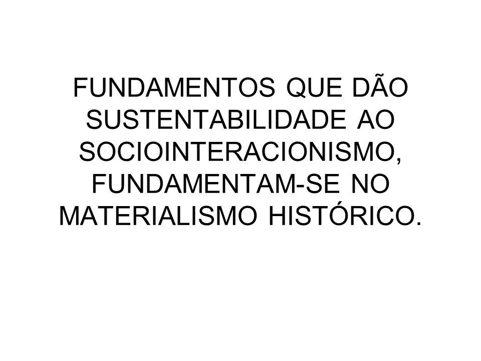 FUNDAMENTOS QUE DÃO SUSTENTABILIDADE AO SOCIOINTERACIONISMO, FUNDAMENTAM-SE NO MATERIALISMO HISTÓRICO.