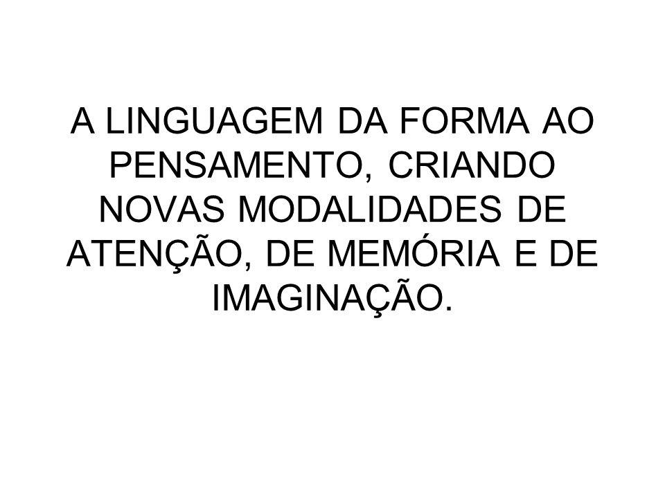 A LINGUAGEM DA FORMA AO PENSAMENTO, CRIANDO NOVAS MODALIDADES DE ATENÇÃO, DE MEMÓRIA E DE IMAGINAÇÃO.