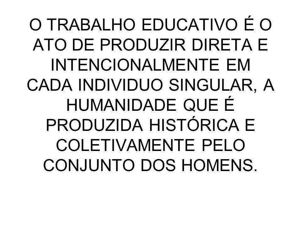 O TRABALHO EDUCATIVO É O ATO DE PRODUZIR DIRETA E INTENCIONALMENTE EM CADA INDIVIDUO SINGULAR, A HUMANIDADE QUE É PRODUZIDA HISTÓRICA E COLETIVAMENTE
