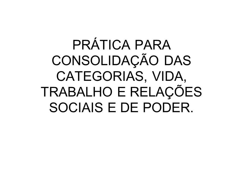 PRÁTICA PARA CONSOLIDAÇÃO DAS CATEGORIAS, VIDA, TRABALHO E RELAÇÕES SOCIAIS E DE PODER.