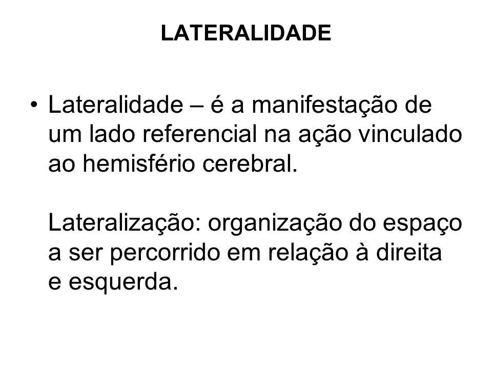 LATERALIDADE Lateralidade – é a manifestação de um lado referencial na ação vinculado ao hemisfério cerebral. Lateralização: organização do espaço a s