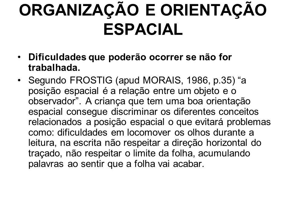 ORGANIZAÇÃO E ORIENTAÇÃO ESPACIAL Dificuldades que poderão ocorrer se não for trabalhada. Segundo FROSTIG (apud MORAIS, 1986, p.35) a posição espacial